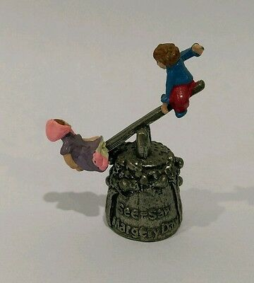 Pewter Nursery Rhyme Thimble See-Saw Margery Daw moving