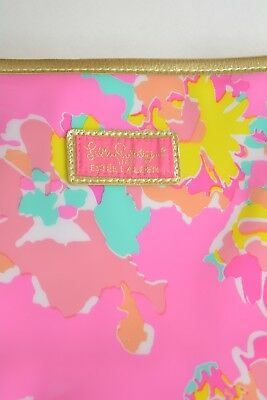 Lilly Pulitzer for Estee Lauder - Bright pink FLORAL cosmetic bag pouch