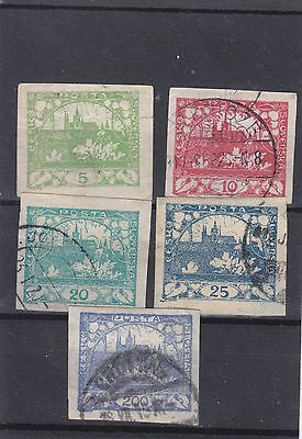 Czechoslovakia 1918 Inperf (B) Set Of 5 Stamps Used