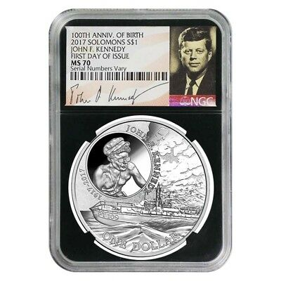 2017 1 oz Silver JFK Solomon Islands NGC MS 70 FDOI First Day of Issue (JFK Sign