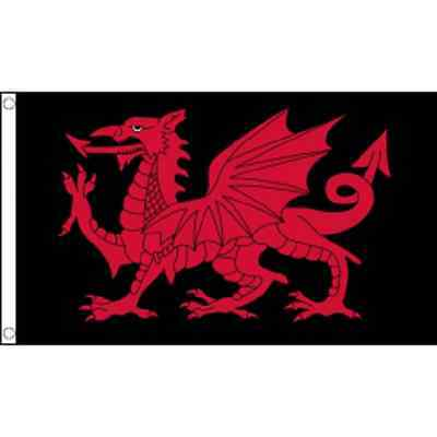 Welsh Dragon Flag - Welsh Dragon Black Flag - Welsh Dragon - 5ft x 3ft - Rugby