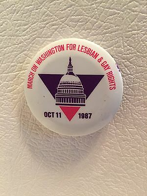 Vintage 1987 Pin Badge March On Washington For Lesbian Gay Rights  Pride /*sweet