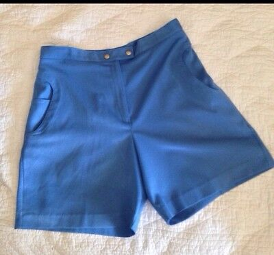 "True Vintage Women's High Waisted Shorts Sz 30"" Blue VLV Pinup Retro Rockabilly"