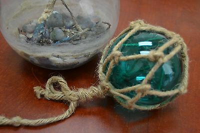 """Reproduction Turquoise Glass Float Ball Buoy With Fishing Net 4"""" #f-506"""