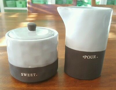Rae Dunn By Magenta Pottery Chalkboard? Sweet Sugar Bowl & Pour Creamer New Nwt
