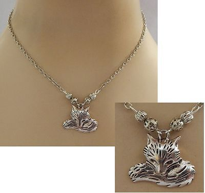 Silver Fox Pendant Necklace Jewelry Handmade NEW Adjustable Fashion Chain Beaded