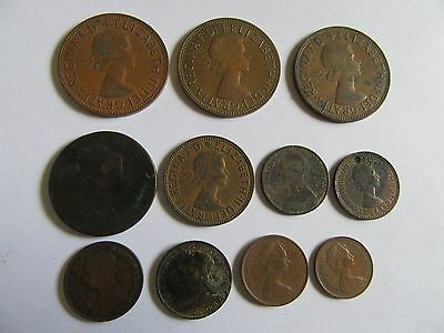 Lot Of 11 Copper Coins Great Britain