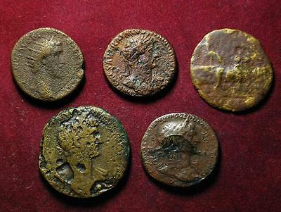 Set of 5 Roman Imperial AE coins 1st-2nd century - good lot