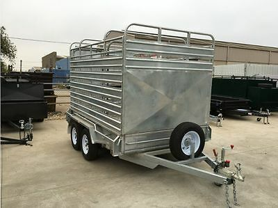 12x6 Galvanised Tandem Stock Crate Trailer Heavy Duty Cattle Crate Fully Welded!