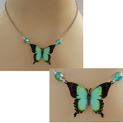 Green Butterfly Pendant Necklace Handmade NEW Adjustable Silver Fashion Black