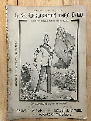 """Victorian Sheet Music """"Like Englishmen they died"""" - 66th Regiment, H&Co No. 938"""