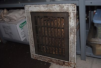 "Vintage Cast Iron Floor Grille Heat Grate Register 10"" x 12"" opening w/ Border"