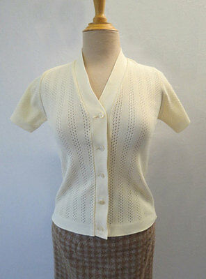 White Vintage Cardigan With Short Sleeves - 1960s -  Small