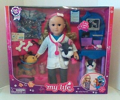 "New My Life As 18"" Veterinarian Doll  Vet Pet Dr American Girl Caucasian Blonde"