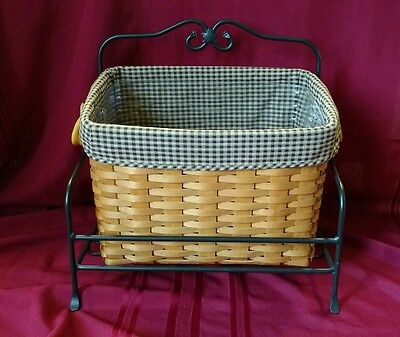 Longaberger 2000 Newspaper Basket Protector Liner W/ Wrought Iron Stand Foundry