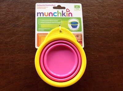 Munchkin Collapsible Silicone Feeding Bowl With Lid-Pink & Yellow-BPA FREE