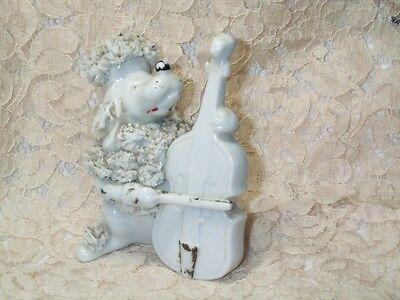 "Vintage White Spaghetti Poodle Puppy Dog Playing Cello Ceramic Figurine 3 3/4"" T"