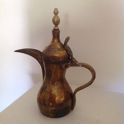 "Heavy Antique Brass Islamic 12"" Dallah Persian Signed Arabic Coffee Pot"