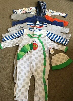 Baby Boy Size 0 All In One Rompers X7. Inc Hungry Caterpiller Bonus Hat, Bonds
