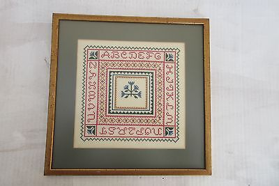 Sampler Handmade Cross Stitch ,Alphabet, Framed, non-glare glass