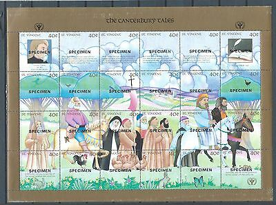 St.Vincent  - mnh SPECIMEN stamp sheet of 24 - the tales of Canterbury