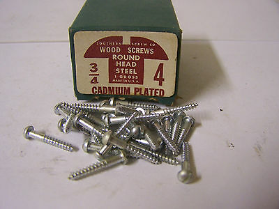 """#4  x 3/4"""" Round Head Cadmium Plated Wood Screws Slotted Made in USA - Qty.144"""