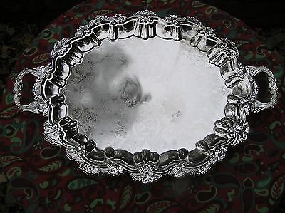 """Wm Rogers Silver Plated Footed Chippendale Tray, 22 3/4"""" Long Ob"""