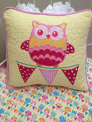 Hoot Hoot Girls Nursery Bedroom Owl Square Cushion Cover