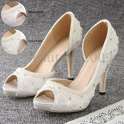 Satin Bridal Wedding Shoes White Ivory Pearls Open Toe Ankle Lace Ribbon Heel