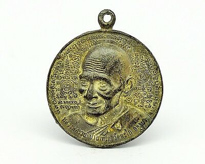 Ancient Thai Amulet Coin Phra Lp.Ruay Wat Tago Real Buddha Powerful Sacred Old