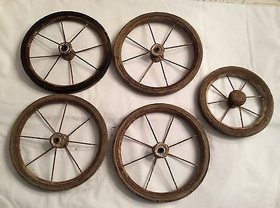 Vintage Lot Of 5 - Baby Carriage Buggy Wagon Wheels 8 Spokes