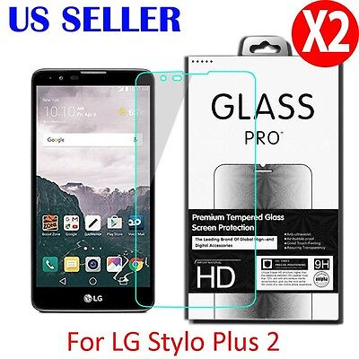 2X Premium Real Tempered Glass Film Screen Protector For LG stylo 2 Plus MS550