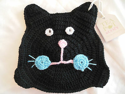 Teapot Cozy Black Cat Knitted Tea Kettle Cover Cat Lady Gift NWT