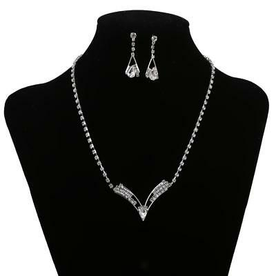 Wedding Bridal Jewelry Set Diamante Crystal Pendant Necklace / Earrings