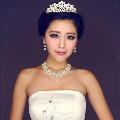 Wedding Bridal Prom Crystal Rhinestone Pearl Necklace Earrings Jewelry Sets