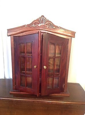 Antique~Vintage Mahogany? Curio Knick Knack Glass French Door Style Cabinet