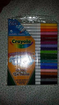 Crayola Washable Markers Super Tips Pack Of 20 Multiple Colors New