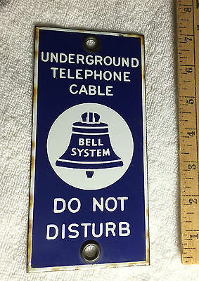 Vintage Bell Systems Underground Telephone Cable Porcelain Sign