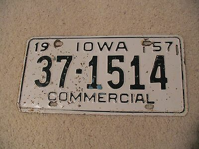 1957 Iowa Vintage Commercial License Plate