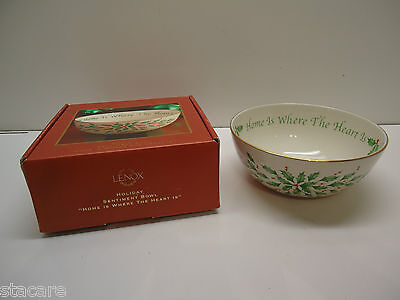LENOX ~ Christmas HOLIDAY SENTIMENT HOME IS WHERE THE HEART IS BOWL~ New in Box