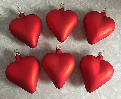 Set Of 6 Red Glass Matte Finish Heart Ornaments Valentines Day Decor