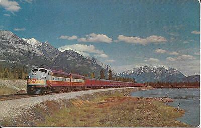 """CPR Train """"the Dominion"""" in the Canadian Rockies, postcard"""