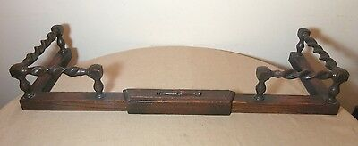 antique 1800's hand carved wood iron adjustable fireplace fender andiron set