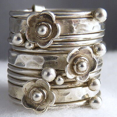 US 10 3/4 ~ NEST/STACK OF 11 RINGS ~ SilverSari ~ 925 Sterling Silver