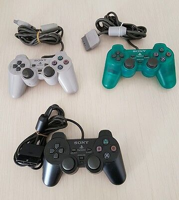 Sony Playstation 2 - Three Controllers (Green, Black and Grey)