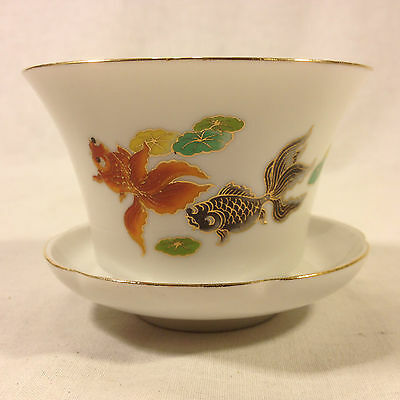 Chinese Koi Fish Porcelain Tea Cup w/Saucer...Lot#210CHTC