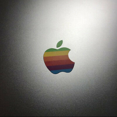 "80s' Apple Rainbow Logo Transparent Sticker MacBook Pro Retina 13"" 15"" Touch Bar"