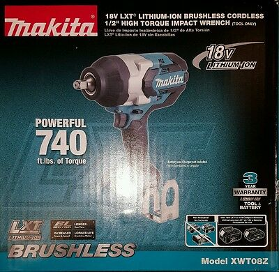"""Makita XWT08Z 18V LXT Lithium--ION Cordless 1/2"""" Drive Impact Wrench(Tool Only)"""