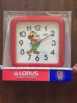 Vintage Disney Mickey Mouse Lorus Peter Pan Wall Clock New In Box