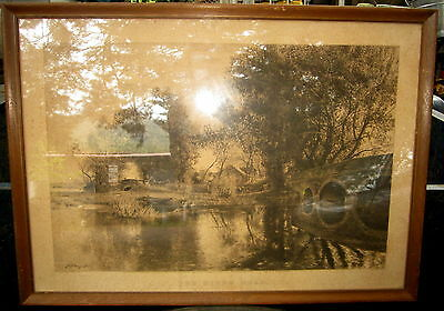 """original 1893 etching """"The River Road"""" by Sir David Murray 1869-1933"""
